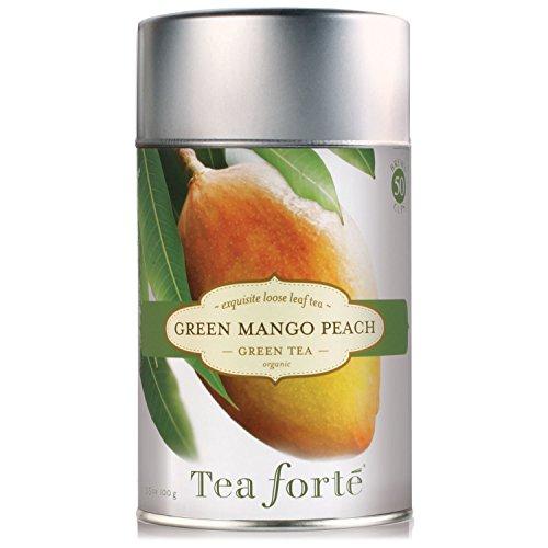 Tea Forte GREEN MANGO PEACH Organic Loose Leaf Green Tea 35 Ounce Tea Tin