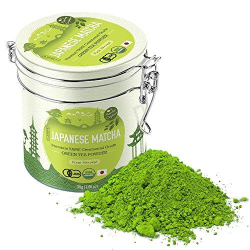 Premium Japanese Matcha Green Tea Powder - 1st Harvest Ceremonial HIGHEST Grade - USDA JAS Organic - From Japan 30g Tin 106oz - Perfect for Starbucks Latte Shake Smoothies Baking