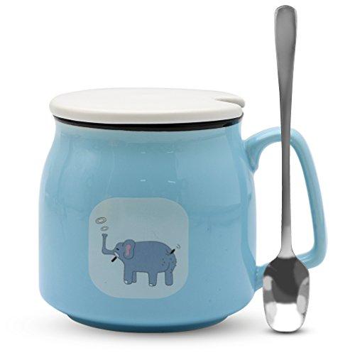 Asmwo Cute Elephant Mug Funny Blue Ceramic Coffee Tea Mug with Lid and Spoon Birthday Christmas Thanks Giving Gift Mugs for Women Girls Boys Kids 12 oz