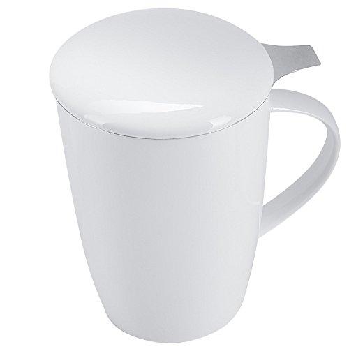 Benail 12 OZ Porcelain Tea Mug with Infuser and Lid