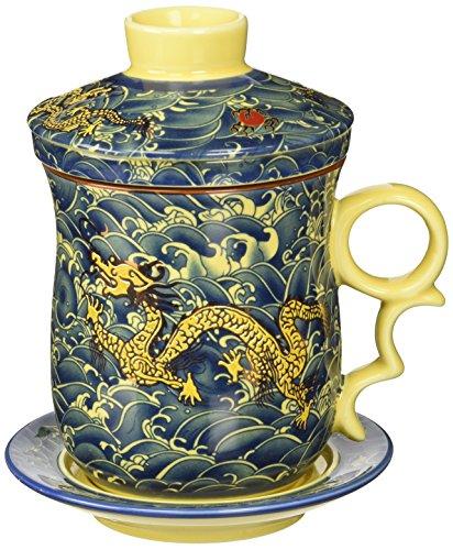 Moyishi Chinese Teaware Black Porcelain Bone Tea Cups Tea Mug With Lid Black Dragon