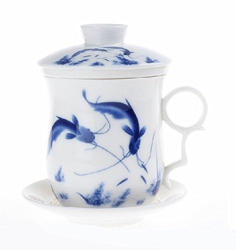 Moyishi Chinese Teaware White Porcelain Bone Tea Cups Tea Mug With Lid Blue Fish
