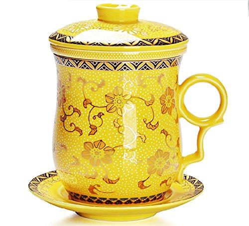 Moyishi Chinese Teaware White Porcelain Bone Tea Cups Tea Mug With Lid Golden Yellow Calendula Flower