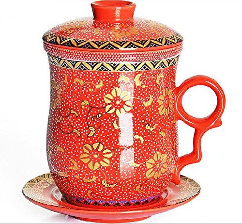 Moyishi Chinese Teaware White Porcelain Bone Tea Cups Tea Mug With Lid Red Calendula Flower