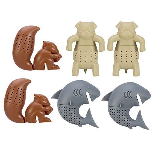 OUNONA 6pcs Silicone Tea Strainer  Tea Infuser  Tea Filter  Tea Gloves Animal Shap Infuser Herbal Spice Filter Diffuser Squirrel Shark Pug