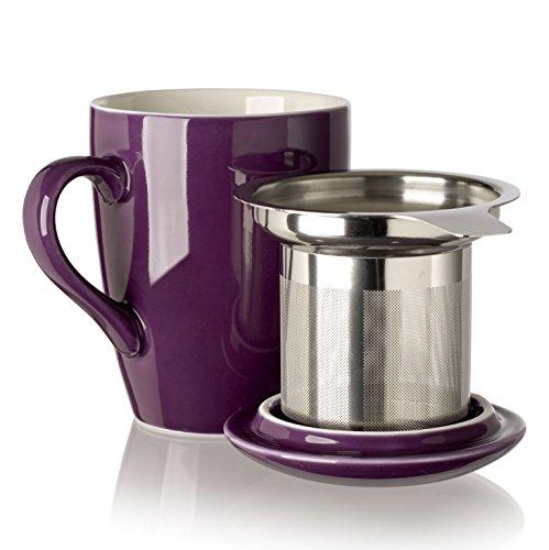 Adagio Teas 10087 Porcelain Mug with Infuser 12 oz Plum