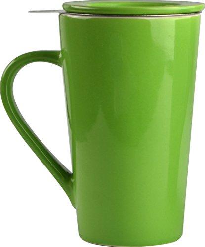 Asobu TEA TIME MUG SET a large 15 ounce loose leaf tea stainless steel infuser and porcelain mug with saucer Lime