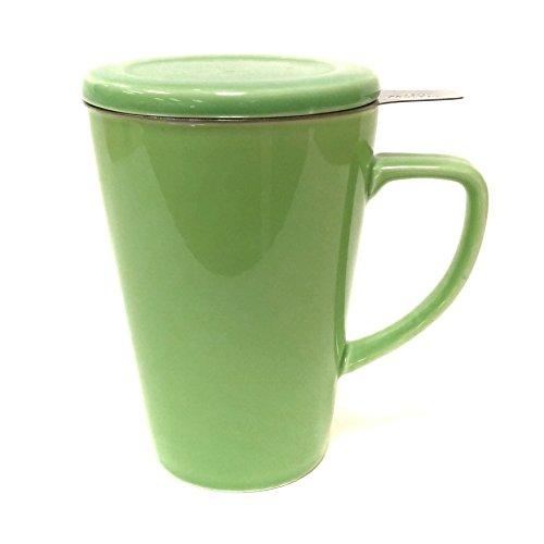 Tea Master Loose Leaf Porcelain Tea Mug with Infuser and Lid - 14oz  415ml Green