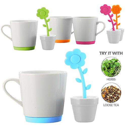 Teabloom FLORET Ceramic Tea Mug with Flower Shaped Tea Infuser and Tea Bag Tidy Set - 9oz Mug - Silicone Loose Leaf Tea Infuser Tea Bag Drip Tray Set in Shape of Flower and Pot