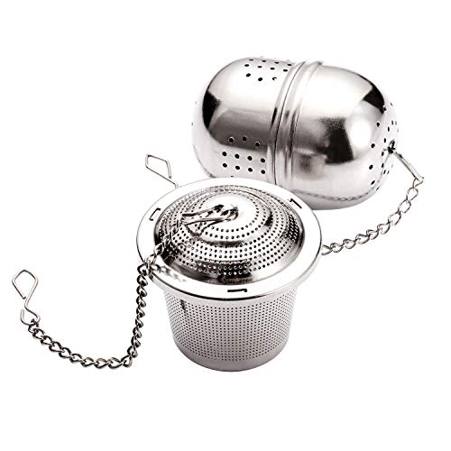 Roimtea Tea Ball Tea Bucket Infuser 2 pack Premium Mesh Loose Leaf Tea Strainer with Extented Chain Hook Food Grade 304 Stainless Steel Infuser for Brewing Steeping