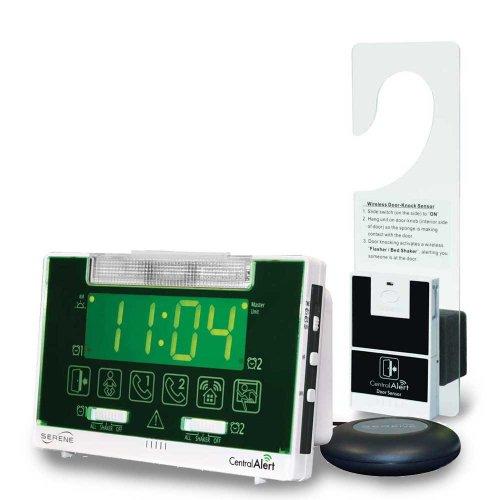 Serene Innovations Centralalert Notification System Ca360h Vibrating Alarm Clockreceiver with Hanging Door Knock Sensor for Deaf or Hearing Loss Impaired Disabled