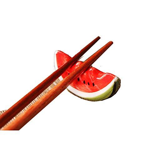MrDakai Ceramic Ware Cute Watermelon Chopsticks Stand Rest Rack Porcelain Spoon Fork Holder Home Decor 3 pcs