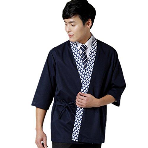 XINFU Sushi Chef Uniform 34 Long Sleeve Hotel Japanese Restaurant Kitchen Chef Coat Blue