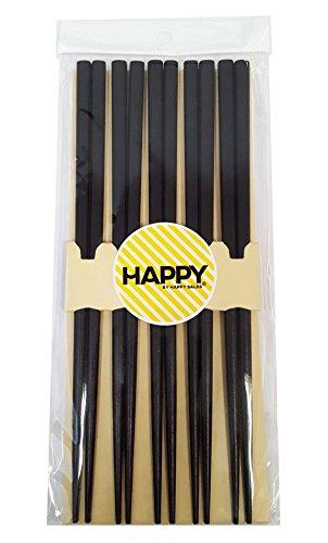 Happy Sales 5 Pairs Wooden Chopstick Set Tokyo Black