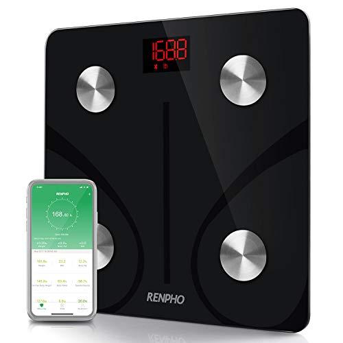 RENPHO Bluetooth Body Fat Scale Smart BMI Scale Digital Bathroom Wireless Weight Scale Body Composition Analyzer with Smartphone App 396 lbs - Black