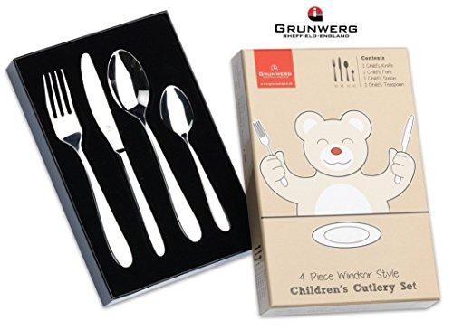 Grunwerg Stainless Steel 4 Piece Winsdor Style Childrens Kids Cutlery Set