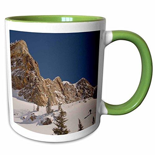 3dRose Danita Delimont - Skiing - Skiing Mill B South Fork Big Cottonwood Utah USA - US45 HGA0394 - Howie Garber - 11oz Two-Tone Green Mug mug_147289_7