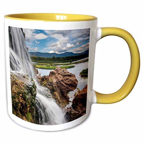 3dRose Danita Delimont - Waterfalls - Fall Creek Waterfall South Fork of Snake River Swan Valley Idaho - 11oz Two-Tone Yellow Mug mug_210340_8
