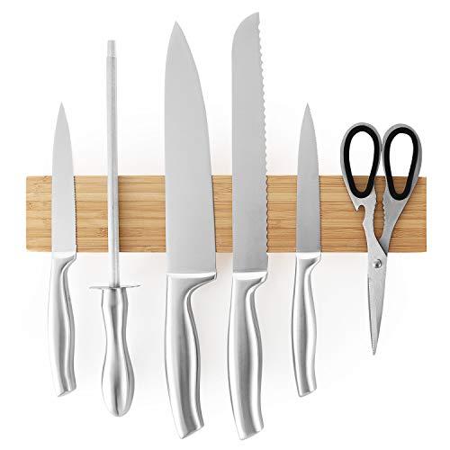 SleekDine Magnetic Knife Rack 12 Inch Bamboo Knife Magnetic Strip