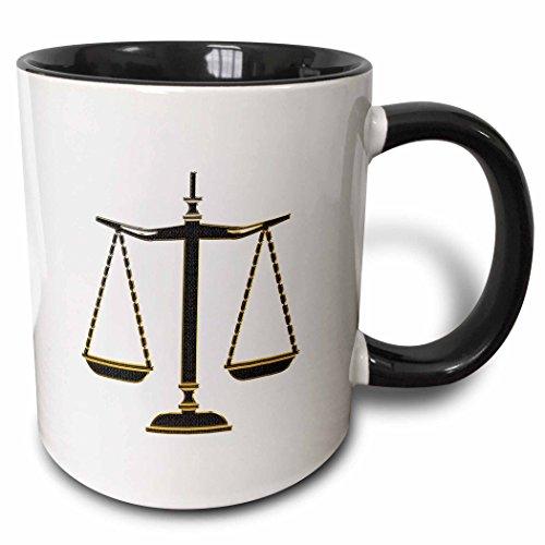 3dRose 165572_4 Elegant Black-Gold Scales Of Justice Two Tone Mug 11 oz