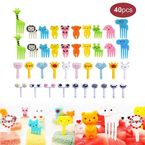40PCS Animal Fruit Food Picks Bento Box Picks Mini Cartoon Animal Food Toothpicks Lunch Bento Forks Picks for Kids
