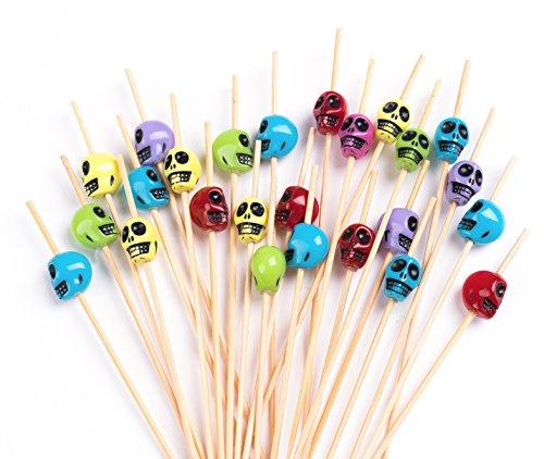 PuTwo Cocktail Picks Handmade Bamboo Toothpicks 100ct 47 in Multicolor Skulls