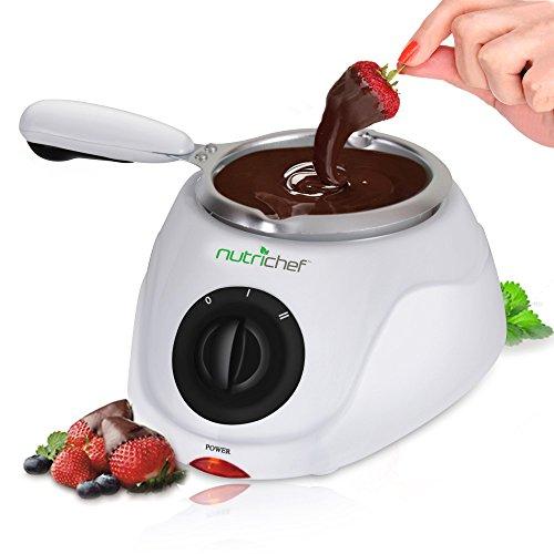 Chocolate Melting Warming Fondue Set - 25W Electric Choco Melt  Warmer Machine Set w Keep Warm Dipping function Removable Pot Melts Chocolate Candy Butter Cheese Caramel - NutriChef PKFNMK14