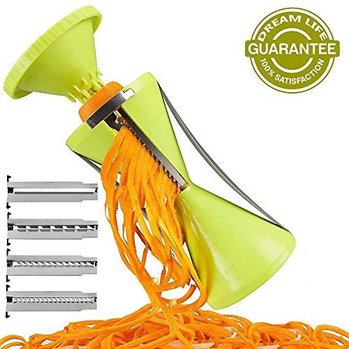 Dreaml Funnel-shape 4-blade Vegetable Spiral Slicer Perfect Veggie Pasta Noodle Maker