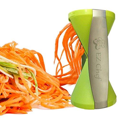 Ez Chef Vegetable Spiralizer: 4 Blade Veggie Spiral Slicer, 150% Bigger Means 50% Less Waste, Bonus Cleaning Brush