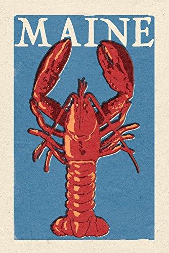 Maine - Lobster Woodblock 9x12 Fine Art Print Home Wall Decor Artwork Poster