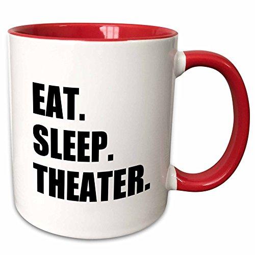 3dRose 180450_5 Eat Sleep Theater Two Tone Mug 11 oz Red