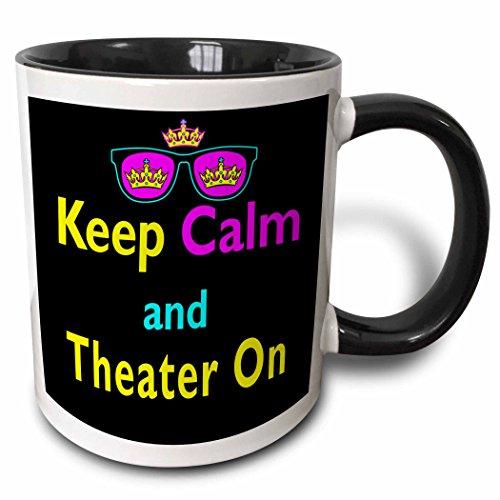 3dRose 3dRose CMYK Keep Calm Parody Hipster Crown And Sunglasses Keep Calm And Theater On - Two Tone Black Mug 11oz mug_116840_4  BlackWhite