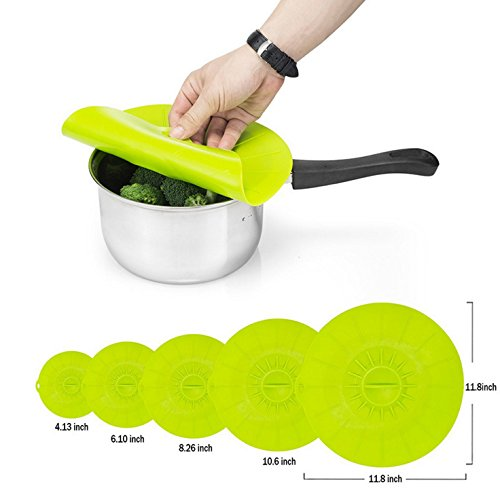 5pcs Reusable Silicone Lids for Pots Pans and Skillets Covers - Malicosmile Microwave Safe Food Cover Green  118 10 8 6 4 Inch