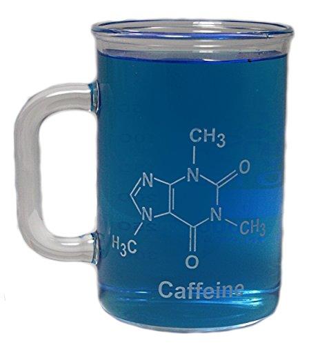 400mL Graduated Glass Beaker Mug wHandle - Caffeine Molecule Glass Mug