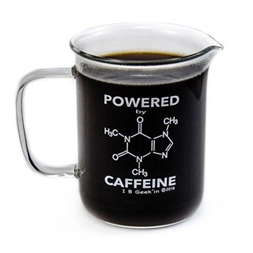 Premium Laboratory Beaker Mug - Powered By Caffeine - Borosilicate Glass 14 oz Capacity - Caffeine Molecule on Front and Funny Graduation Scale on Back