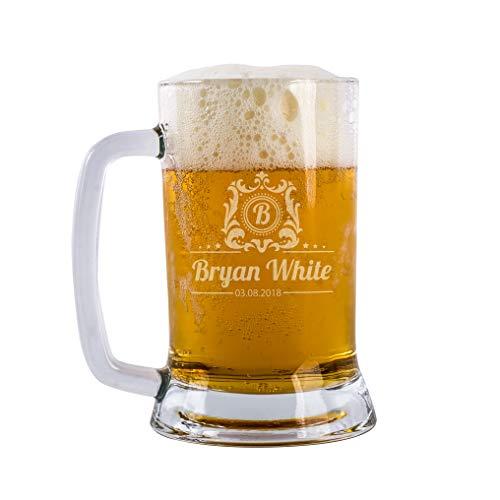 Beer Gifts Personal Beer Mug Glass Engraved Custom Beer Glass Customizable With Names And Date  Personalized Gifts For Men Personalized Dad Beer Glass 16 oz Beer Mug