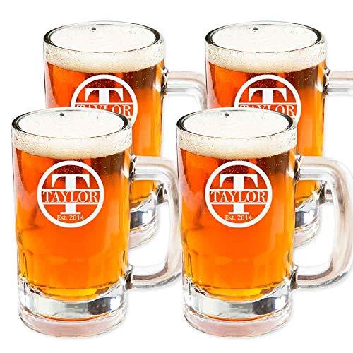 Personalized Beer Mug Glass Customized Mug Stein Glass Set of 4 Housewarming Gifts Wedding Favors Beer Mug 14oz
