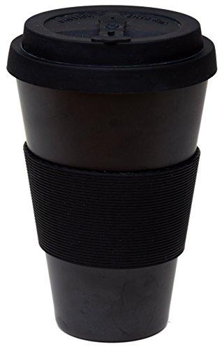 Reusable Coffee Cup Travel Mug Eco-Friendly Bamboo Fibre Silicon Natural 15oz Black