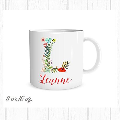 Floral Initial Mug with Name Custom Coffee Cup Custom Mug Free Personalization