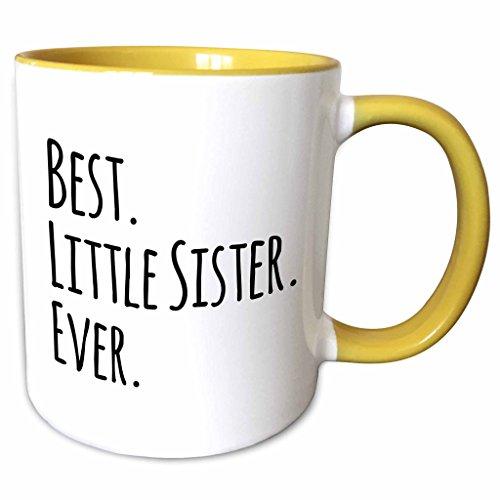 3D Rose 151538_8 Best Little Sister Ever Two Tone Ceramic Mug YellowWhite