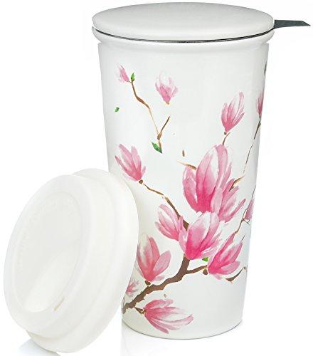 Ceramic Travel Mug with Lid Magnolia Double-Walled Tea Cup with Tea Infuser and Bonus Silicone Top Tall Coffee and Tea Mug Single Steeps Tea Cups Loose Leaf Tea - 12oz Tea Mugs Tea Steeper