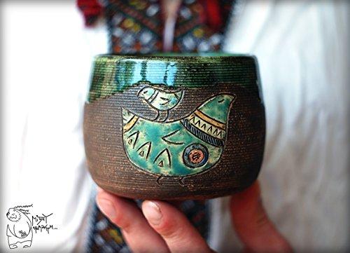 Handmade black coffee Cup with Bird 13 Oz Huge pottery tea mug Christmas gift Black green tea cup Warming gift for him