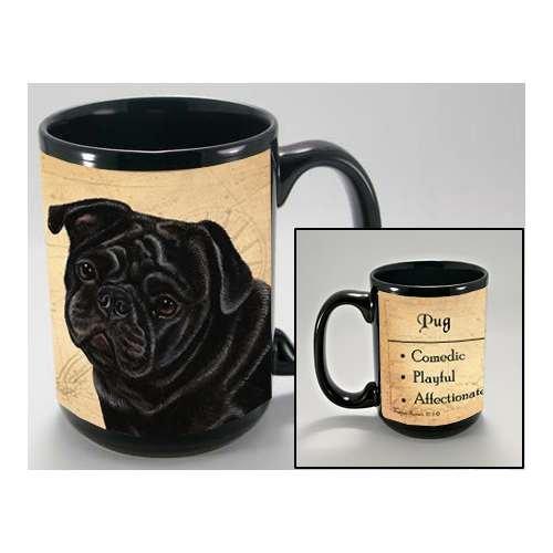 MY FAITHFUL FRIEND PUG BLACK COFFEE CUP MUG PET GIFT