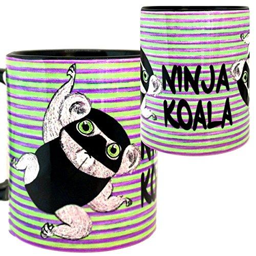 Ninja Koala Mug by Pithitude - One Single 11ozBlack Coffee Cup