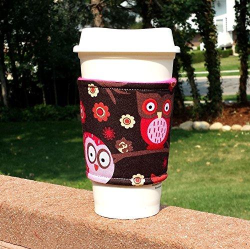 Fabric coffee cozy  cup sleeve  coffee sleeve  coffee cup holder -- Happy Owls