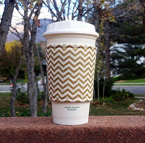 Fabric coffee cozy  cup sleeve  coffee sleeve  coffee cup holder -- Metallic gold and cream chevron