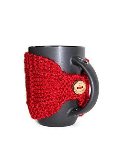 Knitted Mug Cozy Mug Cozy Coffee Cup Cozy Mug Sleeve Tea Mug Cozy Mug Jacket Hot Drink Cozy Red Cozy Knitted Drink Sleeve