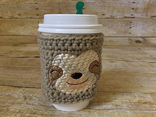 Sloth cup cozy - animal cup cozy sloth accessories crochet cup cozy coffee cozy cup bands coffee cup cozy tea sleeve cup cover