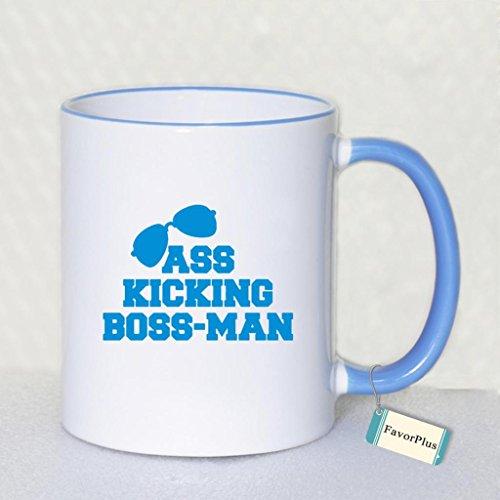 Ass Kicking Boss-Man Two Sides Printed Mug - Funny Mug - 11 Oz Coffee Mug Ceramic Mug Blue - Perfect Gift