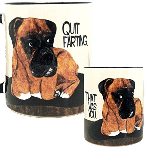 Farting Boxer Dog Mug by Pithitude - One Single 11oz Black Coffee Mug